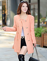 Women's Solid Pink/Orange/Gray Coat , Vintage/Party Long Sleeve Cotton/Wool Blends