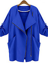 Women's Casual Medium ¾ Sleeve Long Trench Coat (Polyester/Cotton Blends)