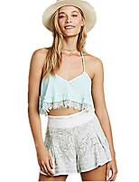 Women's Sexy Lace Cute Plus Sizes Inelastic Sleeveless Short Blouse (Chiffon/Lace)