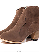 Women's Shoes Synthetic Chunky Heel Bootie Boots/Slippers Casual Black/Brown/Beige