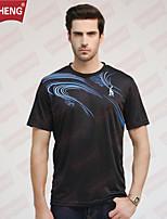 CHICHENG®Men's Casual/Sport Print Short Sleeve Regular T-Shirt (Cotton)