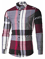 Men's Long Sleeve Shirt , Cotton/Polyester Casual Plaids & Checks