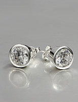 2015 Italy Style Silver Plated Stud Earrings for Lady with Zircon