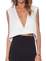 Women's Deep V Hollow Out Backless Blouse , Chiffon Sleeveless