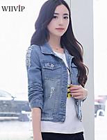 Women's Casual/Cute Medium Long Sleeve Short Jackets (Cotton Blends)WP7D15