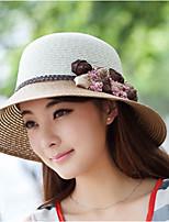 Women Casual Summer Floral Linen/Straw  Sun Hat