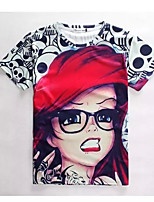 Men's High Quality Creative Special Funny Beauty Summer Breathable 3D Style T-Shirt——The Red Hat Glasses Girl