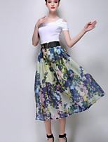 Women's Print Blue/Yellow Skirts , Casual Midi