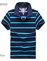 2015 summer new short sleeved POLO shirt size male obese Korean slim stripes Lapel cotton t-shirt men