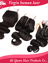 Ali Queen hair products Brazilian Body Wave Lace Closure 4x4 8-20inch, unprocessed  human hair weave closures
