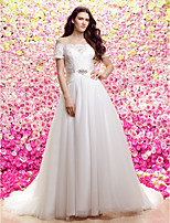 Lan Ting A-line Wedding Dress - Ivory Sweep/Brush Train Jewel Lace / Organza