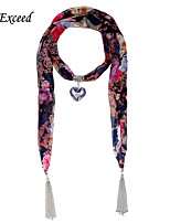 D Exceed Women's Elegant Flower Printing Chiffon Glass Heart Pendent  Scarf with Tassels