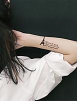 5Pcs  Waterproof Brown Eiffel Tower Pattern Temporary Body Art Tattoo Sticker