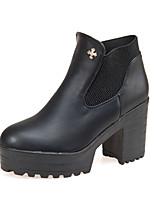 Chaussures Femme - Bureau & Travail / Habillé / Décontracté - Noir / Bordeaux - Gros Talon - Bout Arrondi / Bout Fermé - Bottes -
