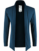 Men's Casual Plus Sizes Pure Long Sleeve Long Cardigan (Cotton)