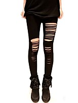 Women Black Cotton Blends Thin Hole Solid Color Legging