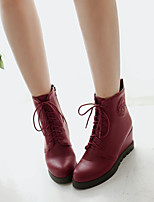 Women's Shoes Wedge Heel Combat Boots/Round Toe Boots Office & Career/Casual Black/Red/Burgundy
