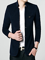 Men's Long Sleeve Jacket , Cotton Casual/Work/Formal/Sport/Plus Sizes Pure