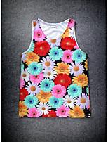 European Style Double Net Hole Vest Digital Printing 3D Sleeveless Colorful Chrysanthemum Harajuku Vest