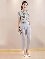 xiw&F Women's Casual/Print/Cute/Work Short Sleeve Regular T-shirt And Ninth Pants Suit