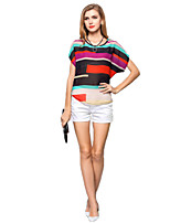 Women's Casual Loose Colorful Stripes Bat Sleeve Chiffon Blouse Summer Tops T-shirt Plus Size