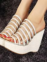 Zapatos de mujer Cuero Sintético Tacón Cuña Tacones Sandalias Casual Blanco/Plata/Oro