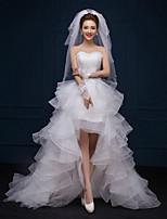 A-line Asymmetrical Wedding Dress - Sweetheart Lace