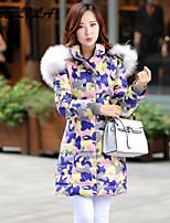 Women's Casual Artificial Fox Fur Collar Plus Size Thick Long White Duck Down Coat