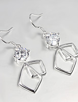 Wedding Dress 925 Silver Plated Drop Earrings for Lady with Shine Zircon