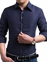 Men's Casual Plaids & Checks Long Sleeve Regular Shirt (Cotton)