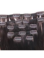 18 inch 7pcs / 70g clip in Braziliaanse menselijk haar extensiiion zijdeachtige rechte # 2 donkerbruin