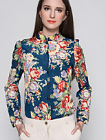 Women's Fashional Printing Stand Long Sleeve Loose Shirt