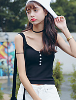 Women's Sexy/Casual Stretchy Sleeveless Short Tank Top  (Cotton/Knitwear/Spandex)