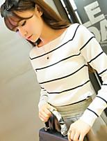 Women's  Bodycon/Casual Inelastic Long Sleeve Regular New Fall  Hin Thin T-shirt