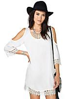 Women's Sexy Casual Lace Cute Plus Sizes Inelastic ¾ Sleeve Long Blouse (Chiffon/Lace)