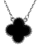 S925 Sterling Silver Plating Platinum Clovers Black Agate Necklace F067