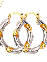 U7® Women's 18K Real Gold/Platinum Plated New Trendy Jewelry Gifts Fancy Twisted Two Tone Gold Hoop Earrings