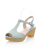 Women's Shoes Leatherette Chunky Heel Peep Toe/Platform Sandals Office & Career/Dress/Casual Blue/Pink/Purple/White