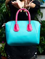 Women 's PU Baguette Tote - Pink/Blue/Green