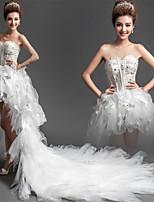 A ライン ウェディングドレス ホワイト チュール ハートカット アシンメトリー