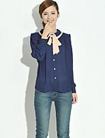 Women's Blue/Pink Blouse , Shirt Collar Long Sleeve