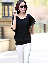 Women's Casual Micro-elastic Short Sleeve Regular Blouse (Chiffon)