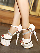 Women's Shoes Rubber Stiletto Heel Heels/Peep Toe Sandals Dress/Casual Black/White
