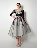 A-line Mother of the Bride Dress - Black Knee-length Tulle