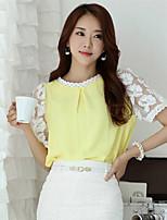Mulheres Camiseta Decote Redondo Manga Curta Renda Chifon/Renda Mulheres