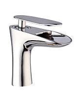 Contemporary Waterfall Chrome Finish Brass One Hole One Handle Sink Faucet