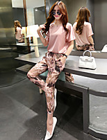 Women's Floral/Solid Round Neck Short Sleeve Pocket