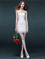 Sheath/Column Short/Mini Wedding Dress - Sweetheart Lace