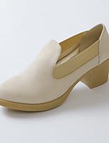 Women's Shoes Fleece Chunky Heel Heels/Round Toe Pumps/Heels Dress Black/Beige/Khaki