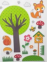 flores e árvores estação de animais adesivos de espuma 3d